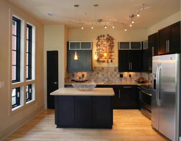 Stylish-track-lighting-for-a-small-and-compact-kitchen