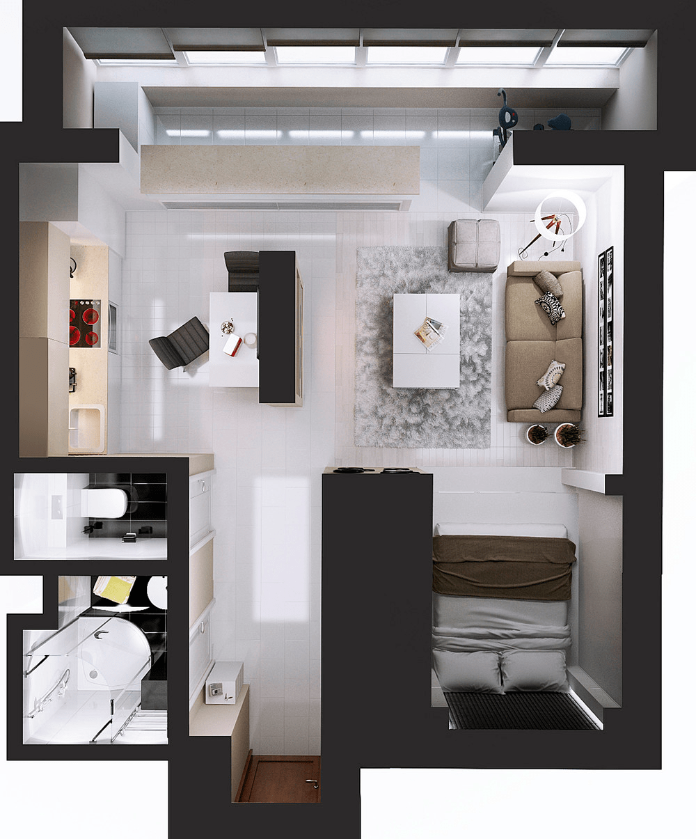What is the difference between studio apartment and one for 2 bedroom apartment layout ideas