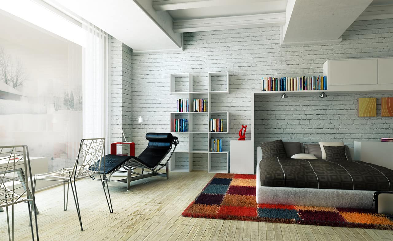 airy white brick studio rendering