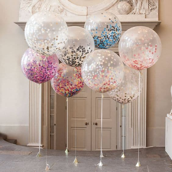 2. TRANSPARENT BALLOONS WITH COLORFUL CONFETTI