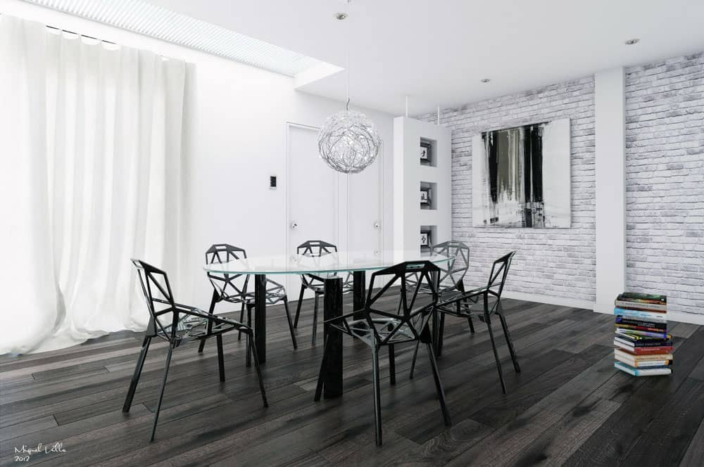 rendering of a room with bricks in white