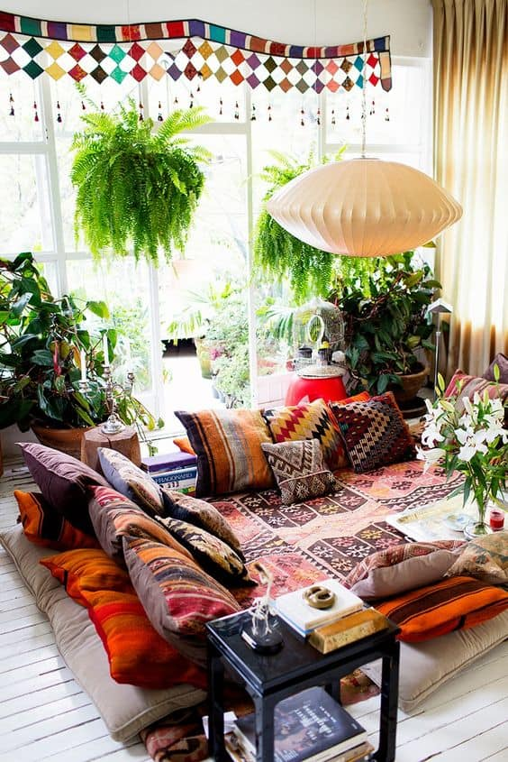 35. BOHEMIAN DECOR WITH SIMPLE PILLOWS and floor level sofas