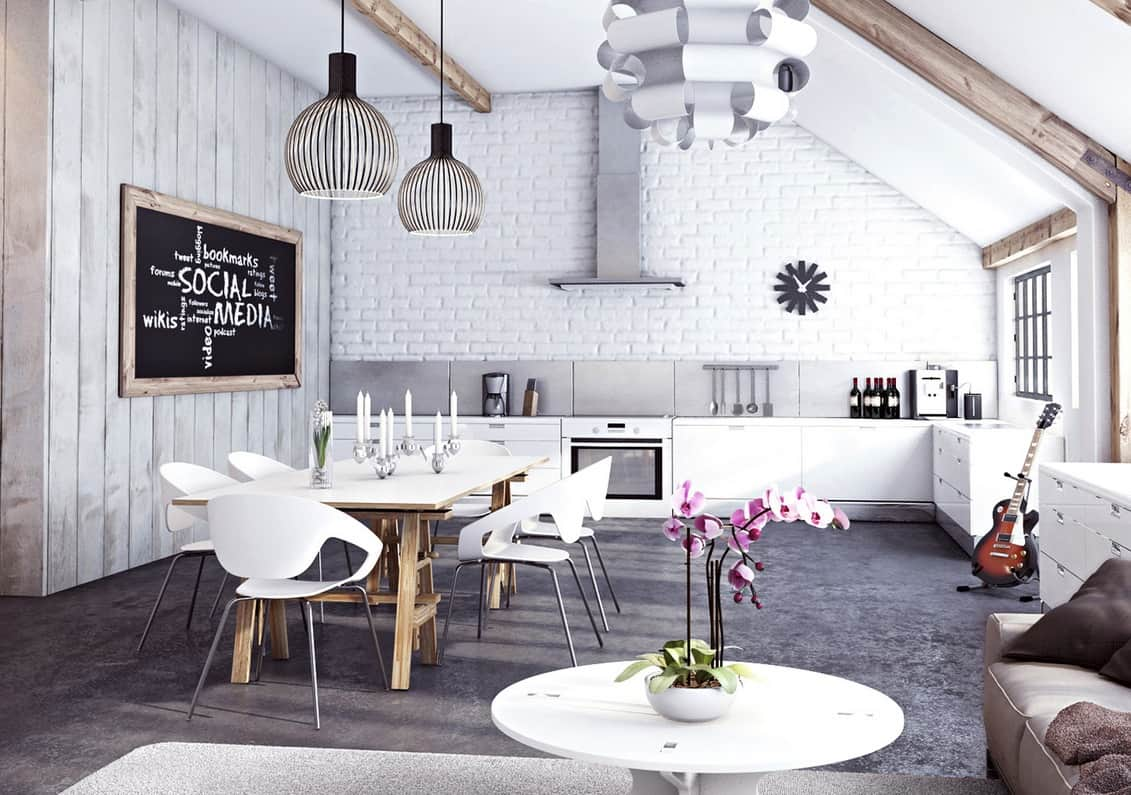 attic white bricks and exposed wooden beams