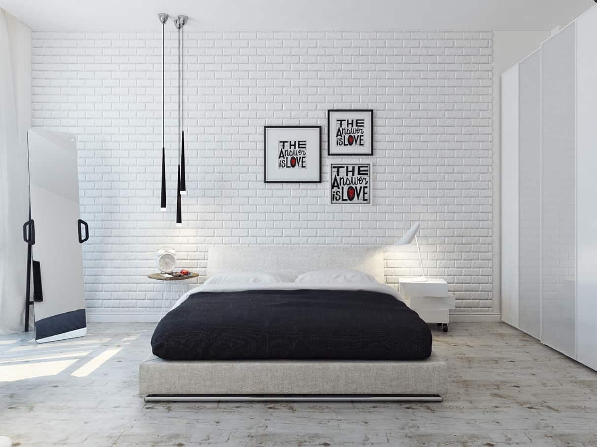 minimalist bedroom design with white brick wall