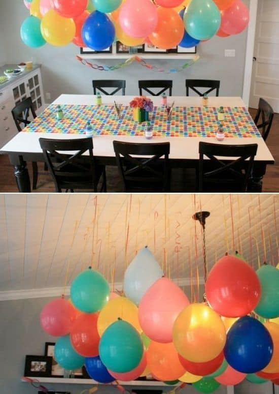 1. COLORFUL BALLOON CLOUDS OVER THE DINNING TABLE