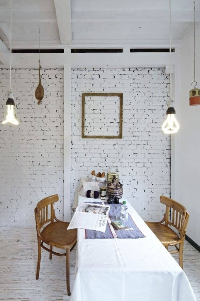 Industrial White Stark Interior Design With Painted Bricks