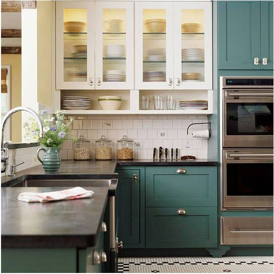 Stunning  the lovely ocean blue and white kitchen cabinets