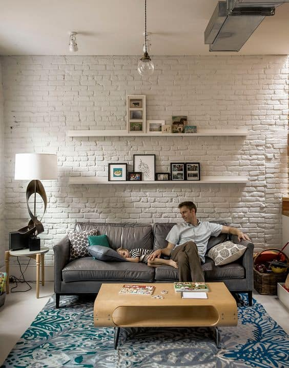 white bricks on a contemporary living room background