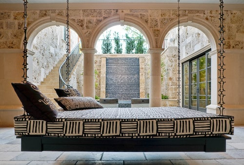 mediterranean-patio hanging bed