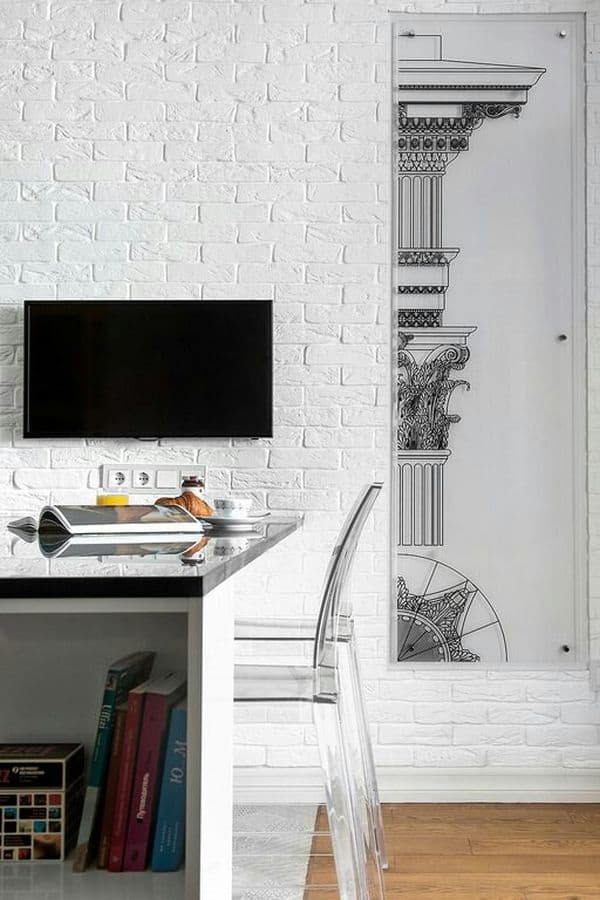 bricks painted in white in modern interior design