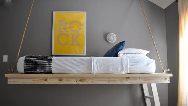 simple wooden hanging bed