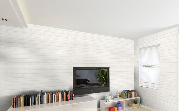 small living room with white bricks