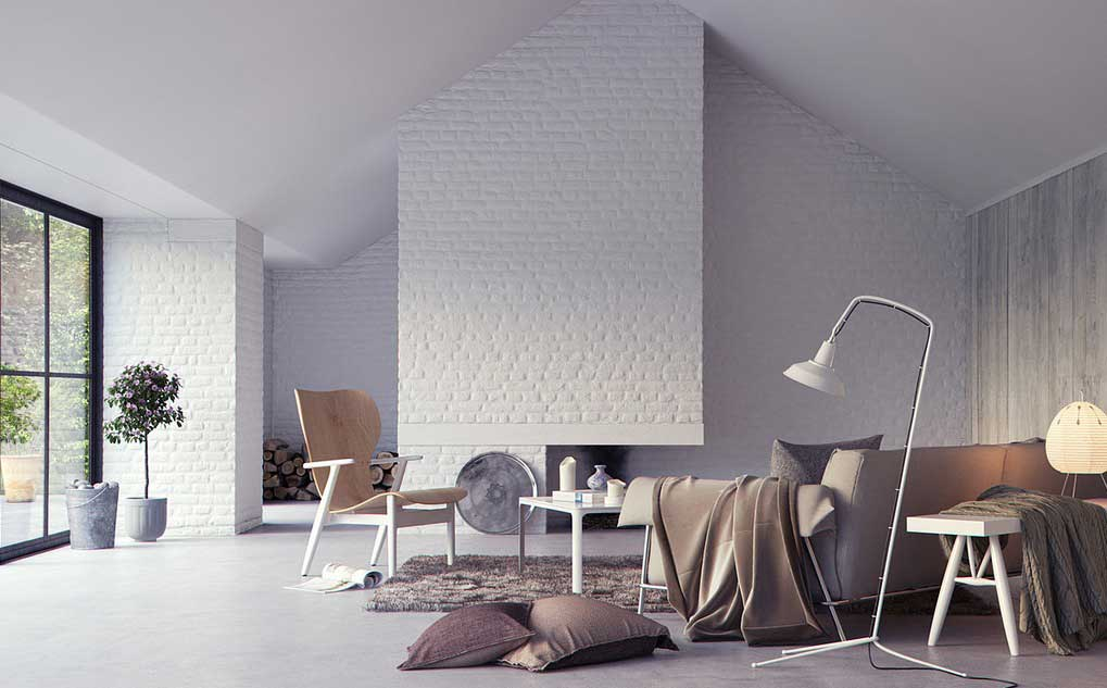 airy interior with lots of light and bricks painted in white