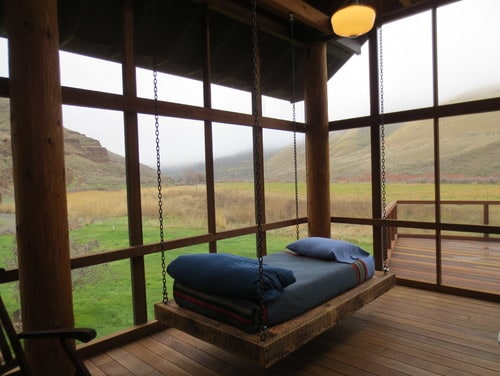 wooden deck extraordinary views and hanging bed