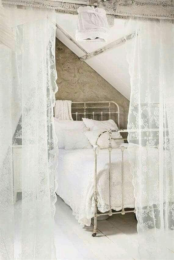 1. CREATING A SHEER LACE WALL AROUND YOUR BED
