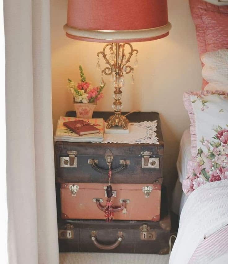 6. TRANSFORM VINTAGE SUITCASES INTO YOUR NIGHTSTANDS