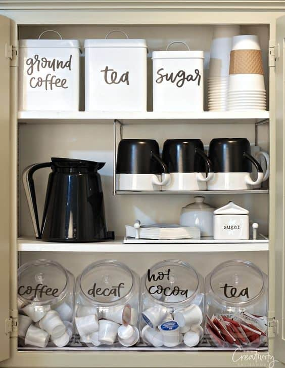 45. COFFEE STATION INSIDE KITCHEN CABINETS