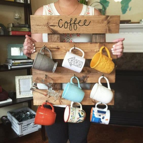 2. DIY PALLET COFFEE MUG RACK