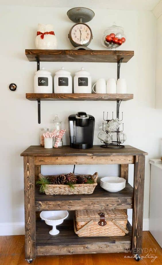 26. NATURAL WOOD COFFEE BAR IN WHITE SETTING