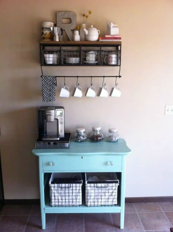 Charmant 10. Petite Teal Coffee Station