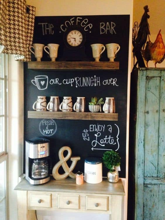 42. CHALKBOARD AND FLOATING SHELVES