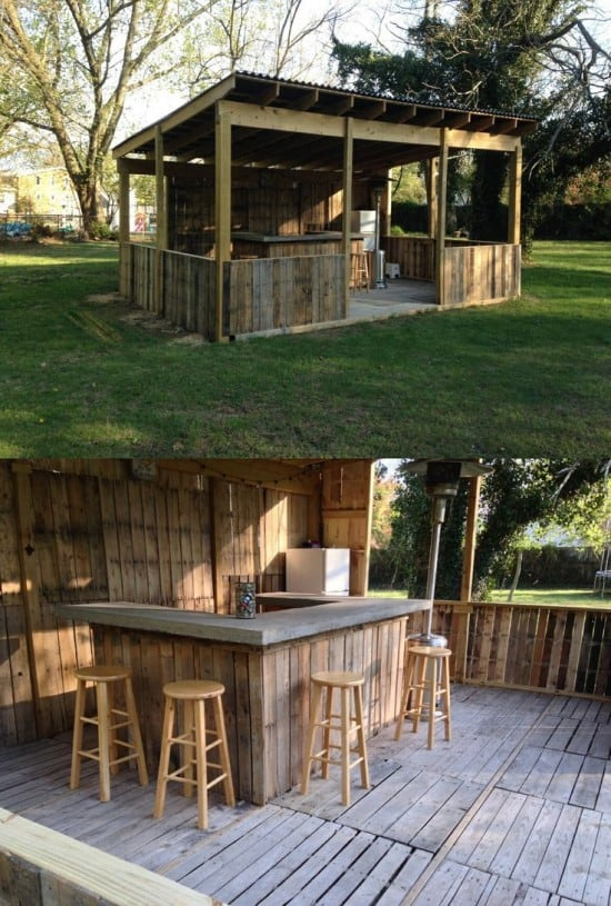 87 epic pallet bar ideas to embrace for your event - How to build an outdoor kitchen a practical terrace ...