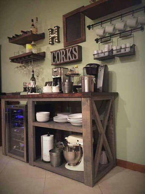 7. COMPLETE SET IN WOODEN SIMPLICITY coffee bar diy