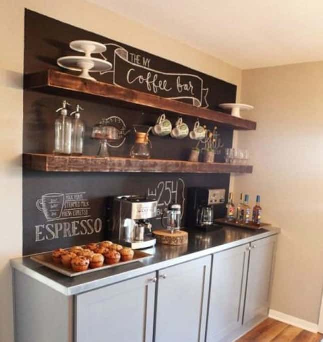 14. CHALKBOARD WALL AND RUSTIC FLOATING SHELVES