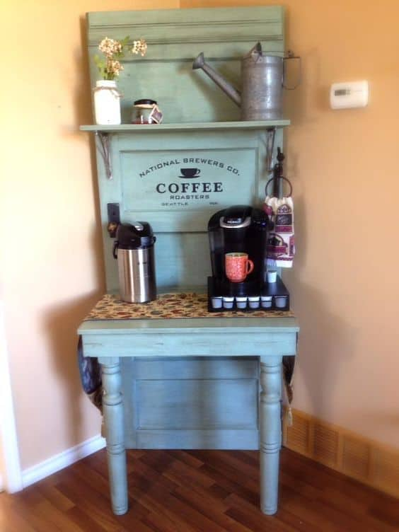 37. USE AN OLD DOOR TO CREATE YOUR COFFEE HEAVEN