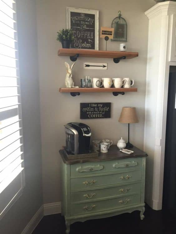 32. SHABBY CHIC IN A DIY COFFEE BAR