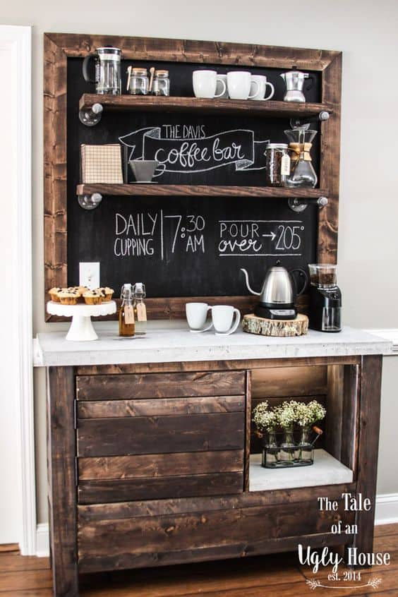 6. CONCRETE TOP, RUSTIC WOOD AND CHALKBOARD