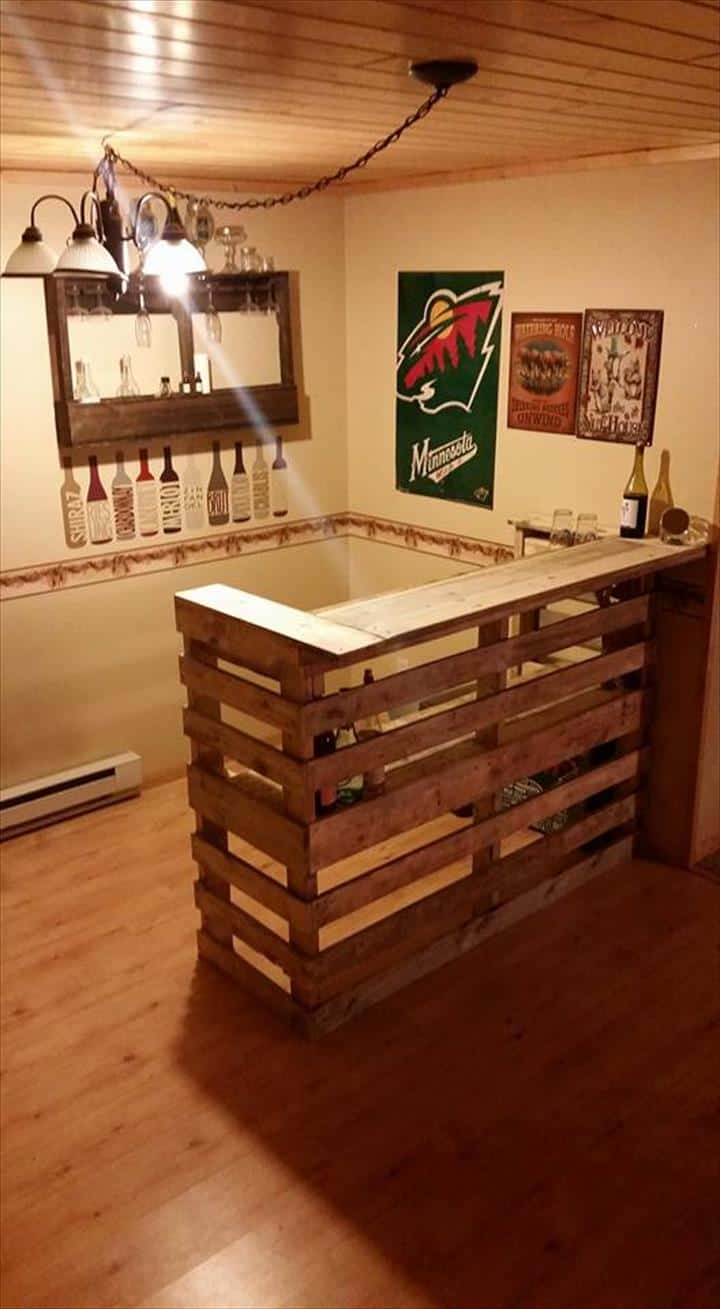 One Could Craft The Pallet Bar For His Man Cave In Work Or Garage To Reduce Waste Rough Looking Above Is A Great Fit