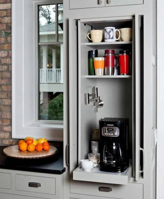 16. SIMPLE HIDEAWAY DIY COFFEE BAR