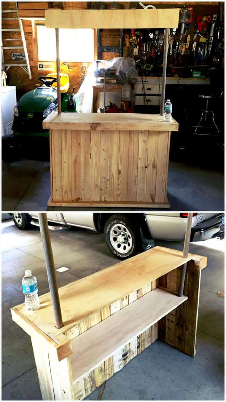 pallet and metal pipe bar