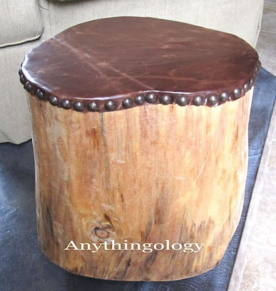7. LEATHER AND WOOD STOOL