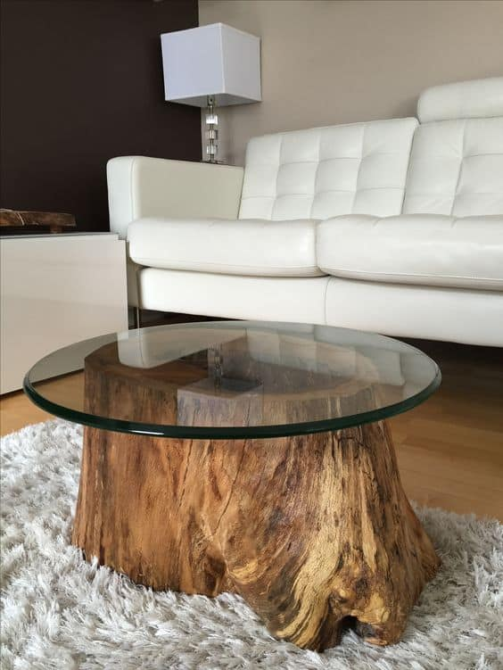 Elegant  stump coffee table Spectacular Tree Logs Ideas for Cozy Households
