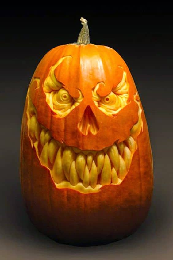 37. ONE PUMPKIN CARVING ART PIECE THAT WILL SCARE YOUR GUESTS
