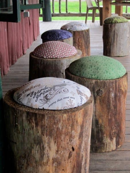 1. CREATE RUSTIC LOG STOOLS