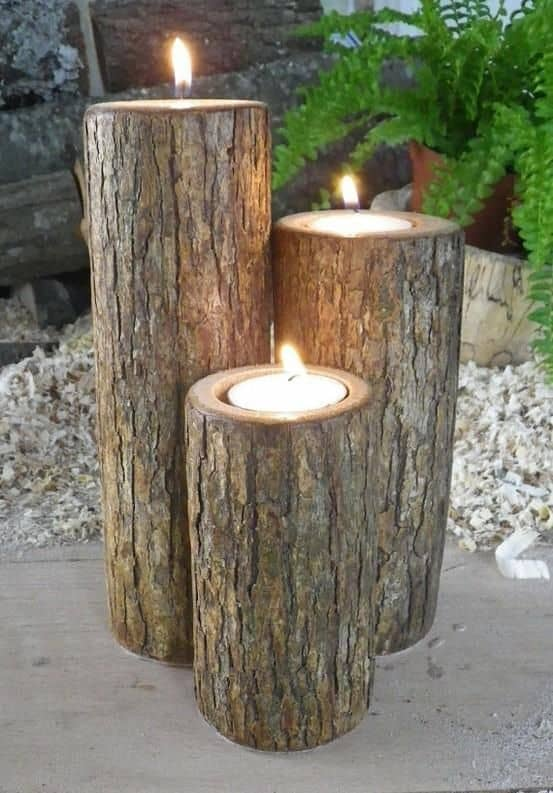 8. LOGS AS CANDLE HOLDERS