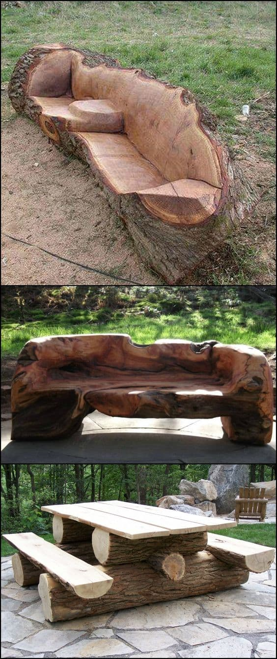 37. EPIC SCULPTED LOG COUCH