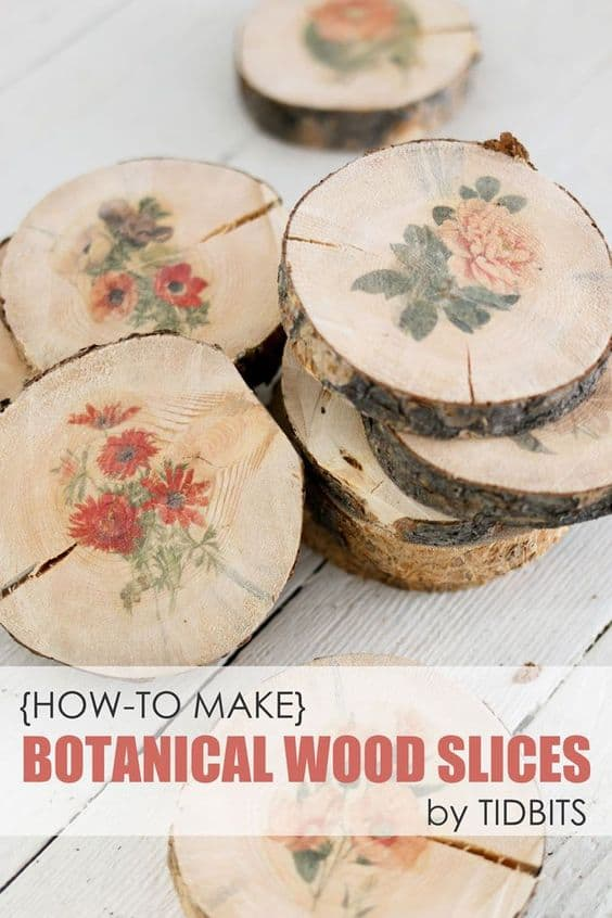 8. DIY BOTANICAL WOOD SLICES