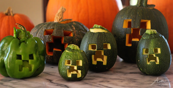 66. MINE-CRAFT ZOMBIE PUMPKIN CARVING