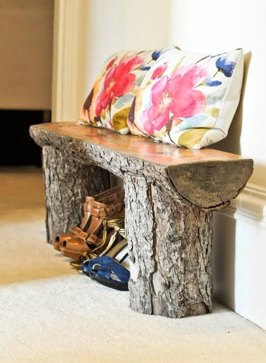 23.  DIY LOG BENCH