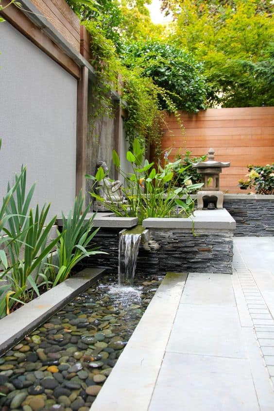 22. Water features bordering a small yard
