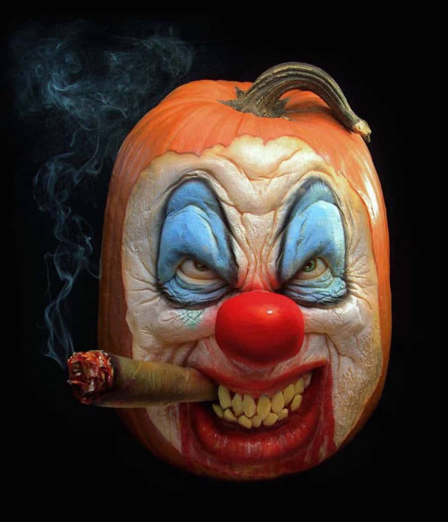 35. REALIST CLOWN PUMPKIN CARVING