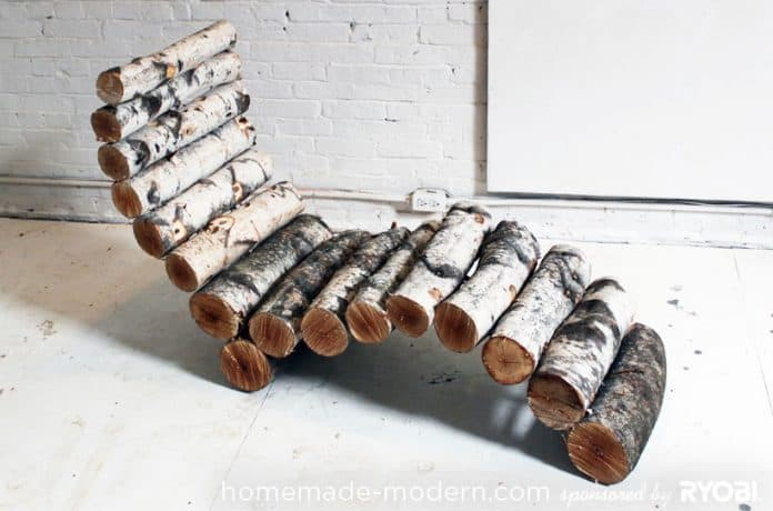 15. LOUNGE CHAIR SHAPED WITH WOOD STUMPS