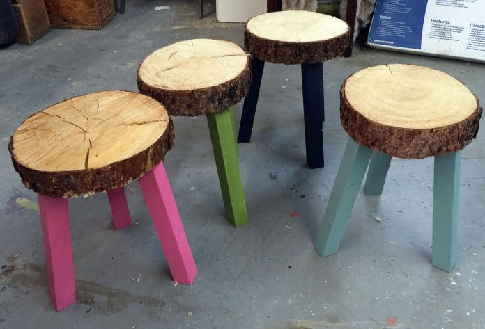 13. WOOD SLICES BECOME STOOLS