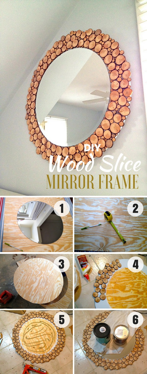 16. DIY WOOD SLICES MIRROR