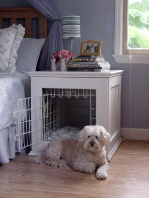 25. SIDE-TABLE DOUBLING AS A NIGHTSTAND AND DOG-ROOM