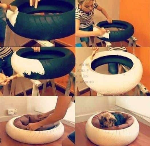 4. RE-PURPOSE MOTORCYCLE TIRE DOG BED